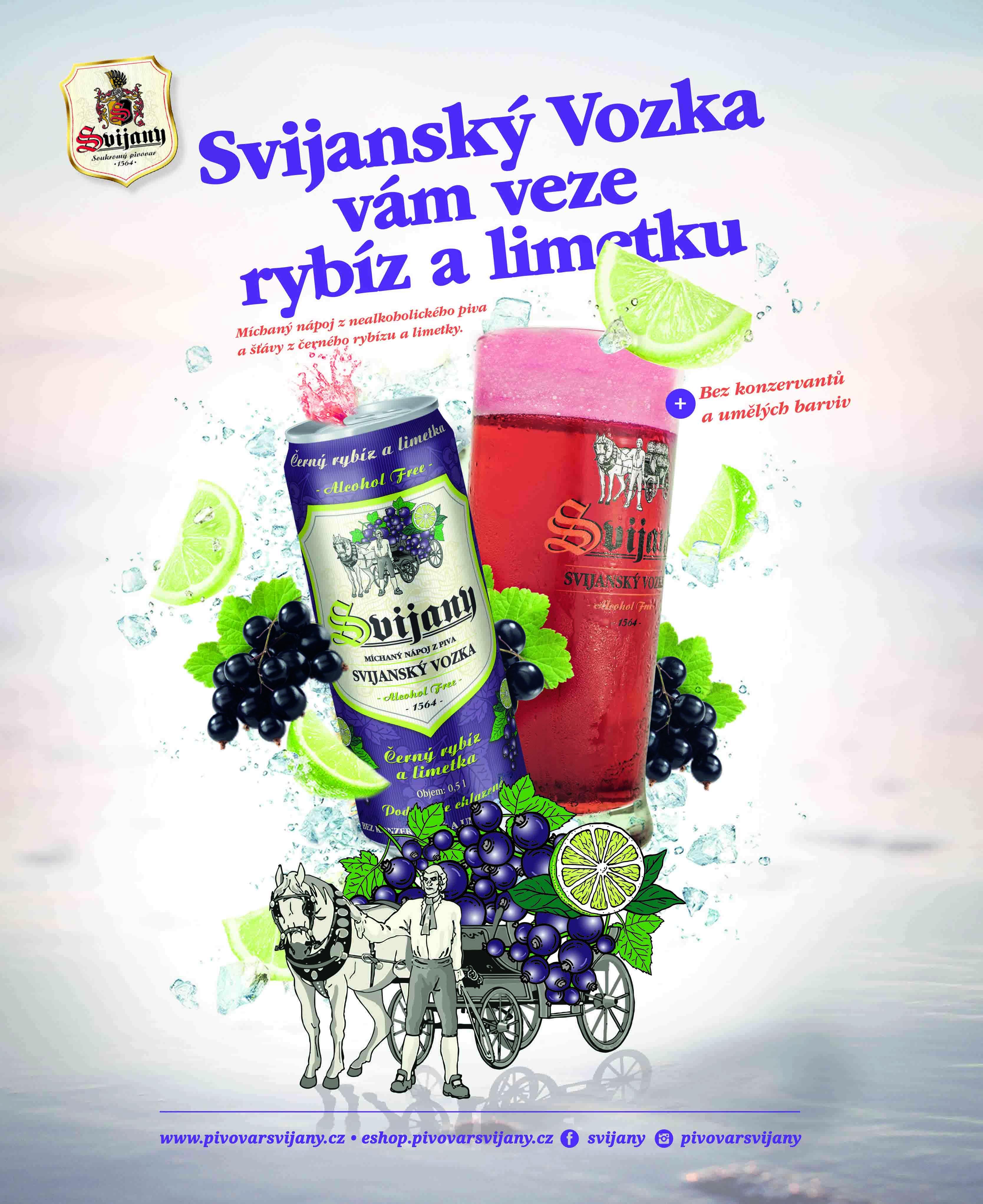 Bez alkoholu: Pivovar Svijany uvádí na trh míchaný nápoj z nealkoholického piva s černým rybízem a limetkou