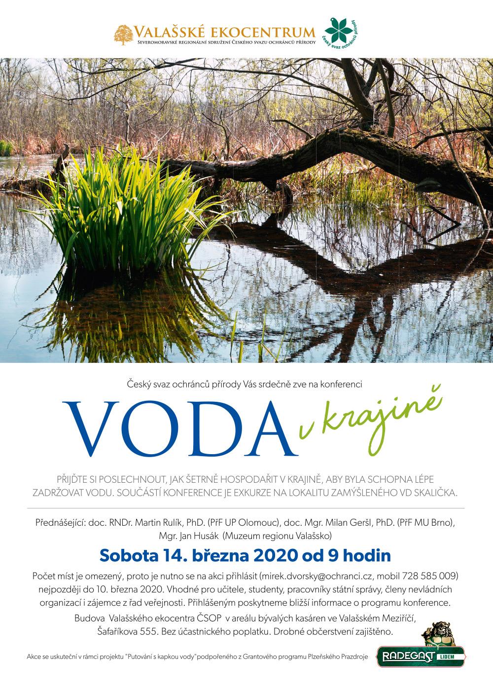 """Radegast podpoří konferenci """"Voda v krajině"""""""